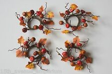 Thanksgiving (Set of 4) RUSTIC Pumpkin NAPKIN RINGS Autumn Twig BERRIES Harvest