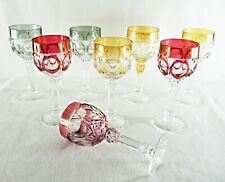 Rare Antique BACCARAT Flawless Crystal 8 x Large Wine Goblet w/ Deep Cut