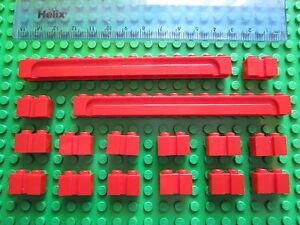 LEGO 16 x Sliding Garage Door / Shutter Modified Grooved Bricks 1x14 & 1x2 RED