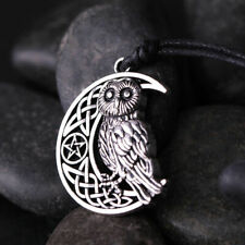 Owl Moon Crescent Star Necklace Pendant Antique Silver Jewelry