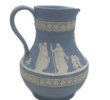 Vintage 1950s Wedgwood Blue Jasperware Etruscan Jug Pitcher Sacrifice to Ceres