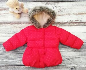 Baby Girls Mothercare Red Polka Dot Padded Coat With Hood Age 3-6 Months