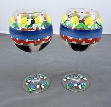 Set of 2 Large Hand Painted Unique Flower Themed Wine / Martini Glasses