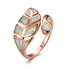 Exquisite rose gold white Imitation Opal leaf ring jewelry adjustable