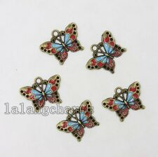 50x Wholesale Vintage Bronze&Enamel Alloy Butterfly Pendants Charms Craft DIY LC