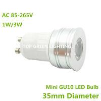 2x Mini 35mm LED Spot Light Bulb GU10 1W 3W Small LED GU10 Bulb Lamp 110V 220V
