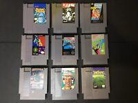 Nintendo-Lot of 9 Games-John Elway-Karate Kid-Fester's Quest-Platoon-Airwolf-etc