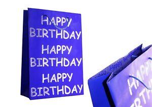 Happy Birthday Blue & Silver Glitter Gift Bags Men Women Present Large Medium