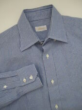 Mens 41 16 Brioni LS chambray cotton linen blue striped button down shirt