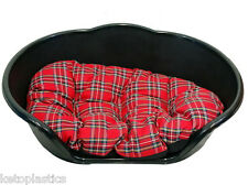 MEDIUM BLACK PLASTIC DOG BED / CAT BED WITH RED TARTAN CUSHION - BASKET