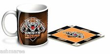 NRL Wests Tigers 330ml Coffee Mug / Coffee Cup & Cork Coaster Gift Set