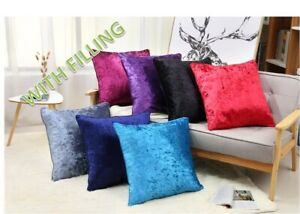 18' X 18' inches WITH FILLING  Plain Crushed Velvet Cushion Covers Luxury Plush
