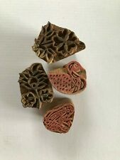 4 small vintage Indian wood textile printing blocks/stamps - duck, frog, flowers
