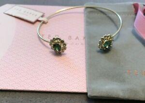 Ted Baker Green Crystal Ultra Fine Cuff Bracelet Gold Tone
