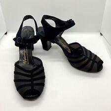 Vtg Womens Mesh Peep Toe Shoes High Heels Black sz 8 M