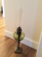 ANTIQUE OIL LAMP WITH SHADE  BRASS BASE  & A GREEN GLASS RESERVOIR