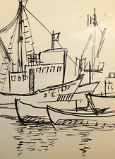Vintage ink painting expressionist seascape boats signed