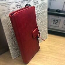 Real Genuine Leather Wallet Luxury ION Book Case Red For Sony Xperia XA1 ULTRA