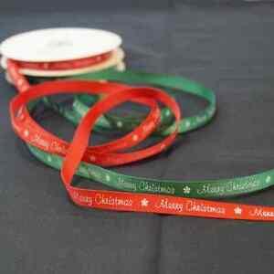 3 Metres 9mm Bertie's Bows Merry Christmas Snowflakes Grosgrain Craft Ribbon