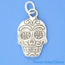 SUGAR SKULL MEXICAN CALAVERA DAY OF THE DEAD HOLIDAY .925 Sterling Silver Charm