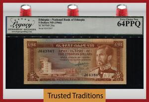 TT PK 26a ND (1966) ETHIOPIA NATIONAL BANK 5 DOLLARS LCG 64 PPQ VERY CHOICE NEW!