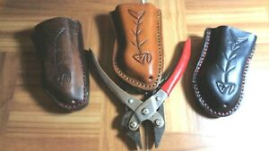 """FISHING SHEATH FITS 6 1/2"""" MANLEY PLIERS LEATHER STAINLESS STEEL HANDCRAFTED USA"""