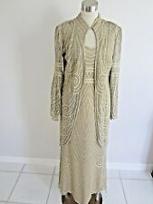 NEW - GOLD 2 PIECE STUNNING LONG KNIT GOWN WITH 3/4 SWING COAT SIZE SMALL