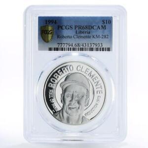 Liberia 10 dollars Baseball Star Roberto Clemente PR68 PCGS silver coin 1994