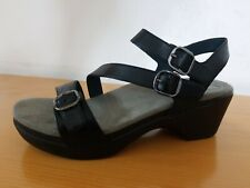 Dansko Sacha Black Burnished Women's Leather Sandal  - NEW - Size EU 39