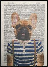 bulldog francés Beis Impresa VINTAGE Diccionario Página Decoración De Pared Foto