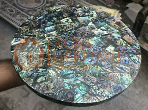 """10""""x10"""" Marble Coffee Table Top Stunning Inlay Abalone Stone Garden Decor"""