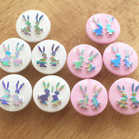 10 iridescent bunny buttons pink or white 15mm diameter shank on back *