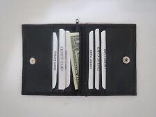 Men's Bifold Black Genuine Leather ID Credit Card Money Holder Wallet W/ Snap.