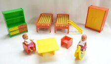 JEAN Kinderzimmer Puppenstube Möbel +Püppchen Kunststoff Puppenhaus Schlafzimmer
