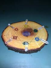Chakra Grid Set, Reiki Grid, Pine,Wood,Etched Engraved With Quartz Crystal Point
