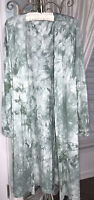 NEW Plus Size 2X 1X Green Open Cardigan Duster Topper Tie Dye Kimono