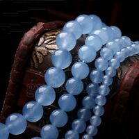 """4/6/8/10/12/14mm Natural Blue Chalcedony Round Gemstone Loose Beads 15"""" AAA"""