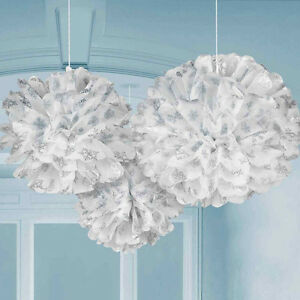 3 x Christmas Fluffy White Pom hanging party decorations SNOWFLAKE design