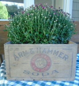 """Antique Wooden Box ARM & HAMMER SODA Wood Crate with dovetails, 19 X 15 X 8"""""""