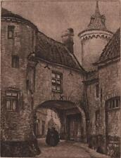 OMER COPPENS (1864-1926) Signed Etching FIGURE IN CONTINENTAL ARCHWAY 1892