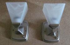 2 Dainty RV Marine 12 Volt Nickel Wall Sconce Light White Alabaster Glass Shade