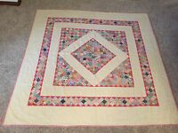 VINTAGE 1930 BIRCH CREEK SQUARE IN PATCHWORK QUILT HANDMADE ART NEVER USED PINK