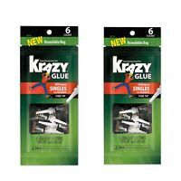 Lot Of 2! Krazy Glue All-Purpose Super Glue Single-Use Tubes, 0.02 Oz  6/Pack