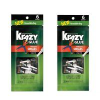 Lot Of 2! Krazy Glue All-Purpose Super Glue Single-Use Tubes, 0.02 Oz  6/Pack