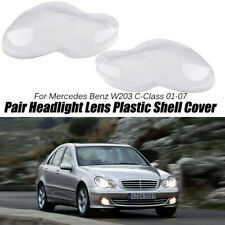 For Mercedes Benz W203 C-Class 2001-2007 Pair Headlight Lens Plastic Shell Cover