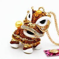 Women's Enamel Crystal Cute Lion Dance Chain Pendant Betsey Johnson Necklace