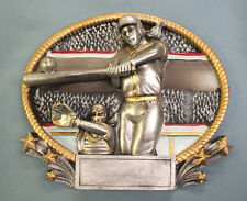 3D402 Softball resin oval plate plaque high relief