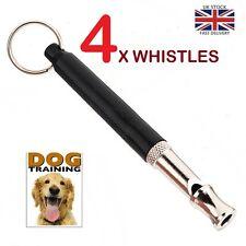 4 x PET DOG TRAINING fischio ad ultrasuoni silenzioso SUONO REGOLABILE Key Chain 90mm