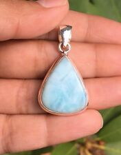 Trillion Cut Sterling Silver 925 Larimar Gemstone Pendant Necklace 25mm X 21mm