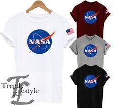 NASA SPACE LOGO PRINT ASTRONAUT USA FLAG TRENDY AMERICAN FLAG GEEK UNISEX TSHIRT